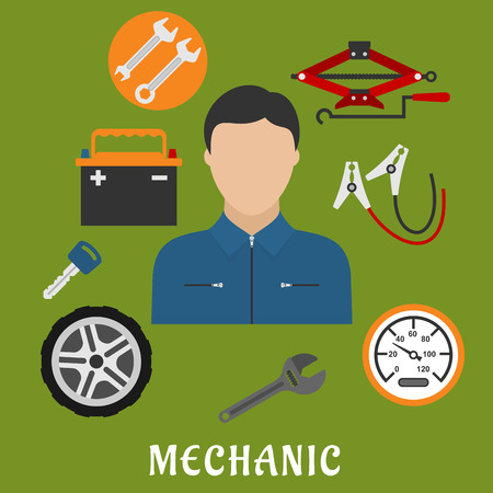 screw jack: Mechanic profession flat concept. Man in uniform overalls and cap, jack screw, wheel, key, wrench and battery icons