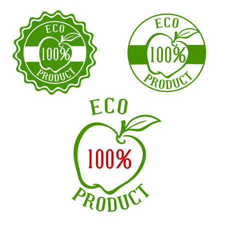 apple leaf: Fresh product green labels with apple and leaf outlines framed by round seals. For natural healthy food and drink design