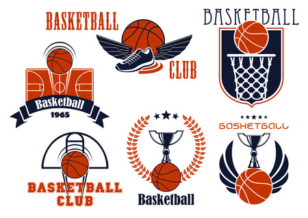 canestro basket: Basket Club o squadra emblemi mostrando le palle di basket con canestro e tabellone, tribunali, coppe trofeo e scarpe alate, scudo araldico integrati, corona di alloro, bandiera del nastro e stelle Vettoriali