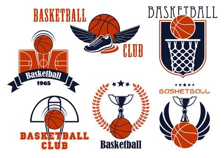 baloncesto: Club de baloncesto o de equipo emblemas que muestran las bolas de baloncesto con la cesta y el tablero, los tribunales, las tazas del trofeo y los zapatos alados, escudo heráldico complementado, corona de laurel, bandera de la cinta y las estrellas