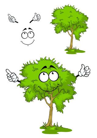 생각에 잠겨있는: Cartoon green tree character on a grass with pensive smile, isolated on white background 일러스트