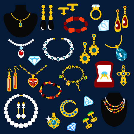 Jewelry flat icons with fashion luxury necklaces, earrings, bracelets, rings, pendants, chains and cufflinks, inlaid diamonds, pearls, emeralds, sapphires and other gems