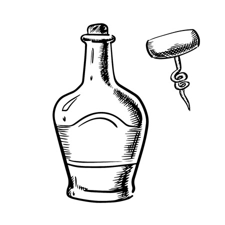 broad: Whiskey in traditional bottle with cork, broad shoulders and corkscrew with wooden handle isolated on white background,  sketch style Illustration