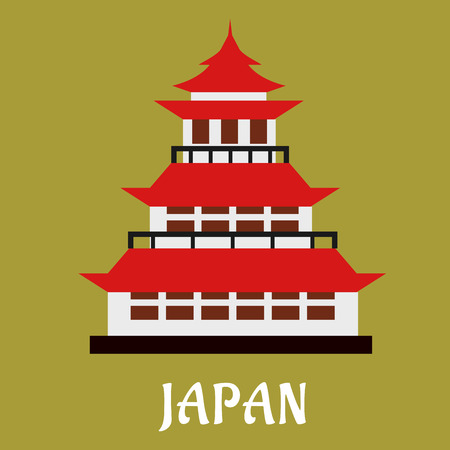 spire: Japanese national traditional pagoda with red roof and ornamental spire or hit for travel or history design, flat style