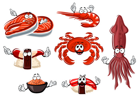 delicatessen: Cartoon happy salmon steak, shrimp, crab, squid, red caviar, nigiri sushi with clam and tuna characters for seafood menu or healthy food design