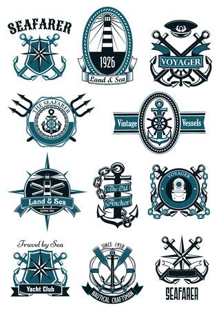 bussola: Badge nautici dell'annata con ancore marine, elmi, rose dei venti, casco di immersione, fari, cannocchiali, pagaie, protezione del capitano, tridenti, incorniciati da salvagenti, scudi, corde, catene e nastri