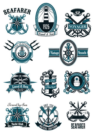 Vintage nautical badges with marine anchors, helms, compass roses, diving helmet, lighthouses, spyglasses, paddles, captain cap, tridents, framed by lifebuoys, shields, ropes, chains and ribbons Illustration