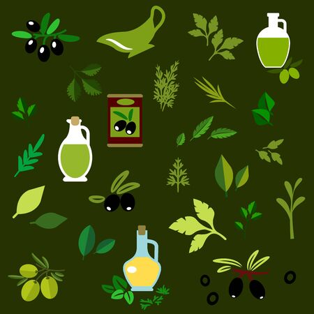 basil: Olive fruits and fresh herbs flat icons of green and black olive fruits, bottles of olive oil, marinated olives and twigs of rosemary, dill, thyme, basil, parsley
