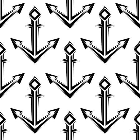 fluke: Stylized nautical anchors seamless pattern for marine or wallpaper design