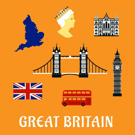 london tower bridge: Great Britain travel flat symbols and icons of national flag, map, Tower bridge, Big Ben, cathedral and double decker red london bus
