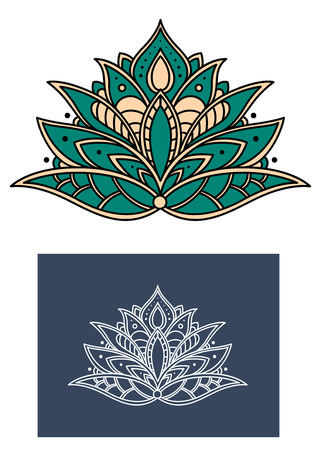 Emerald paisley flower with lush shaped petals, adorned by ethnic indian ornamental elements, for textile or interior accessories design