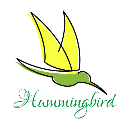 nectar: Yellow and green hummingbird abstract symbol with pointed wings, outline style Illustration