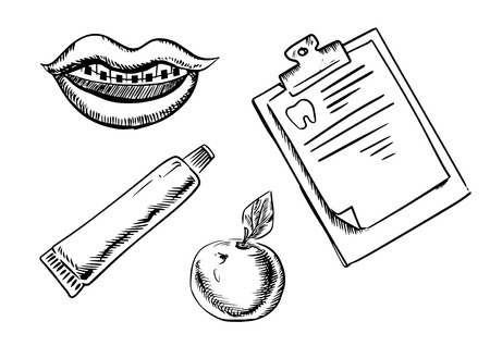 medical clipboard: Dental and hygiene sketch icons with braces on teeth, tube of toothpaste, fresh apple and clipboard with medical form Illustration