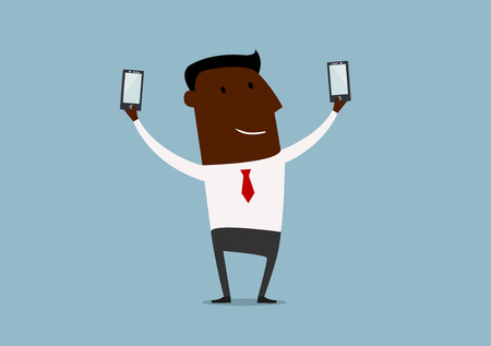 shots: African american businessman posing and making double selfie shots with two smartphones, for technology concept design. Cartoon flat style