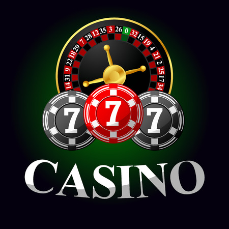 wheel of fortune: Casino icon with roulette and chips for gambling design on green background Illustration