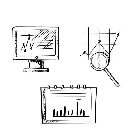 finances: Computer monitor with line chart, notebook with bar graph and growing graph with magnifier, for business or finance icon concept. Sketch style Illustration