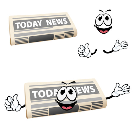 title emotions: Today news newspaper cartoon character with happy smiling face and hands, for media or advertisement design Illustration