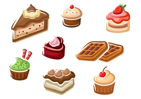 fruity: Sweet cupcakes, cakes, fruity dessert and belgian waffles with cream decorations, cherry and strawberry fruits, chocolate chips and sprinkles Illustration