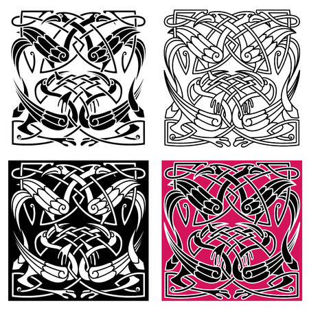 Celtic knot pattern with gorgeous herons with crests, wings and legs. For tattoo or art design Stock Illustratie