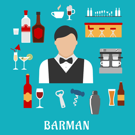bartender: Barman and bartender profession flat icons with man, alcohol beverages and drinks, pub elements