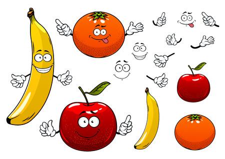 manzana caricatura: Cartoon maduras jugosas rojas de manzana, naranja y pl�tano frutas personajes con caras felices, mostrando signos de atenci�n, para la agricultura o el dise�o de alimentos