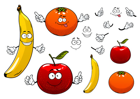 Cartoon ripe juicy red apple, orange and banana fruits characters with happy faces, showing attention signs, for agriculture or food design