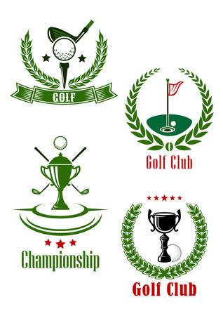 golf  ball: Club de golf de campeonato y emblemas con trofeo, clubes y bandera enmarcadas por coronas de laurel con las estrellas y bandera de la cinta Vectores
