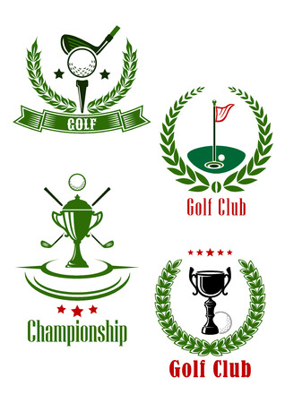 Golf club and championship emblems with trophy, clubs and flagstick framed by laurel wreaths with stars and ribbon banner