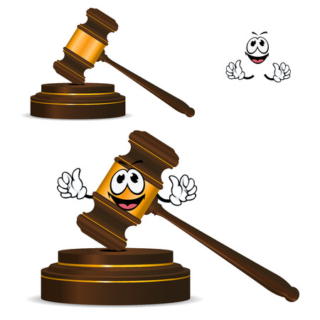 striking: Happy wooden gavel cartoon character with golden elements and round striking surface for justice, courts or auction design
