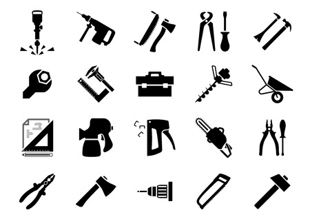 drill: Hammers, screwdrivers, axes, saws, pliers, jackhammer, crowbar, wrench, vernier caliper, set square, toolbox, drill machine, wheelbarrow, drawing, spray gun, chainsaw and staple gun black icons set