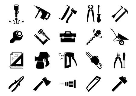 crowbar: Hammers, screwdrivers, axes, saws, pliers, jackhammer, crowbar, wrench, vernier caliper, set square, toolbox, drill machine, wheelbarrow, drawing, spray gun, chainsaw and staple gun black icons set