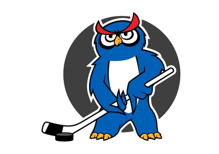 ice hockey player: Blue owl ice hockey player cartoon character with stick and puck on gray background for sporting club or team mascot design