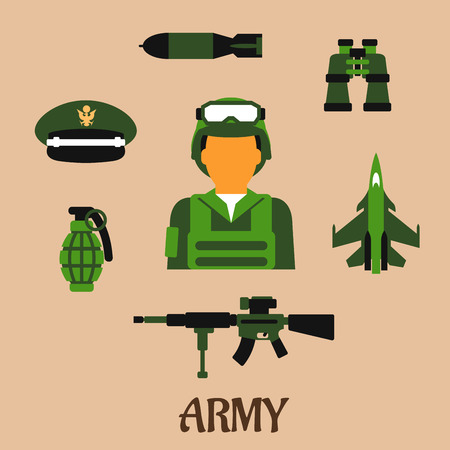 peaked cap: Army flat icons with soldier wearing the army combat uniform, helmet and body armor, surrounded by hand grenade, peaked cap, binoculars, air bomb, aircraft and gun