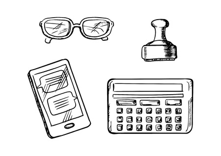 retro glasses: Smartphone with chat messages, calculator, glasses and retro rubber stamp. Sketch icons and symbols