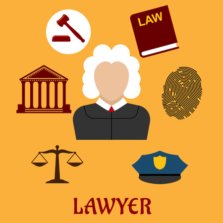 law book: Law and justice flat icons surrounding a lawyer with a courthouse, law book, fingerprint, police cap, scales and gavel on yellow. Lawyer profession concept