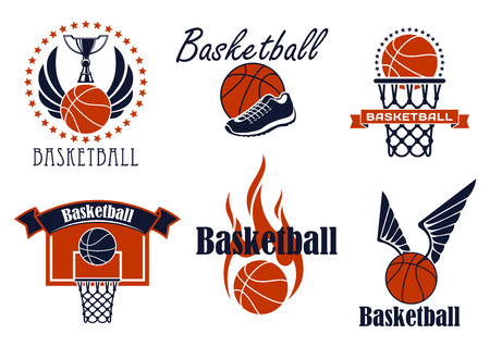 basketball ball on fire: Basketball game sport icons and symbols with winged and flaming ball, shoes, ring and trophy cup