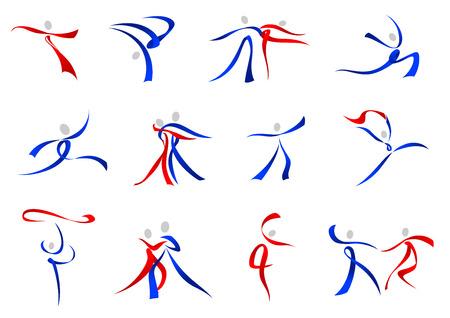 simbolo uomo donna: Flowing stilizzate ballerini moderni icone in rosso e blu in una varietà di pose di danza