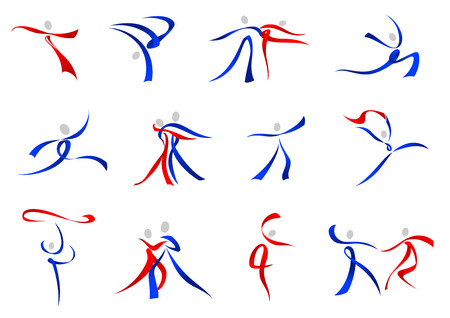 jumps: Flowing stylized modern dancers icons in red and blue in a variety of dance poses