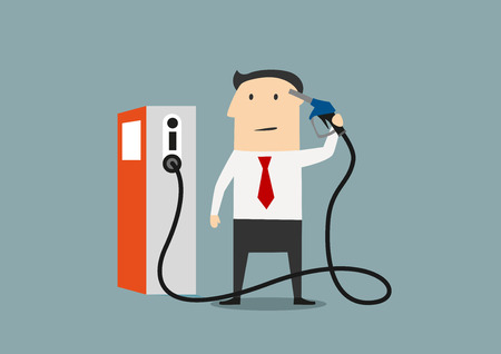 hold high: Businessman refuelling his brain from a pump marked with an icon for information and knowledge, or price of gasoline Illustration