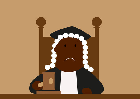 Judge in his wig passing judgment in court hammering down with his gavel Illustration