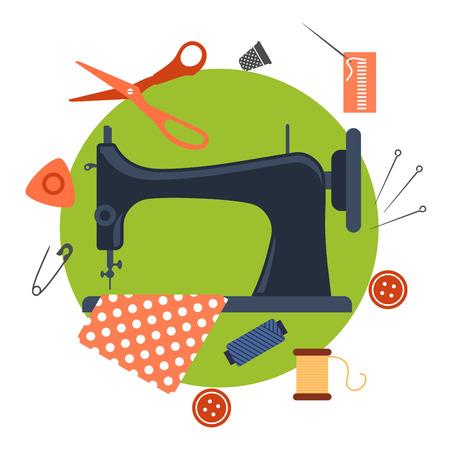 Iconos de coser planas coloridas que rodean una máquina de coser con el pin, hilo, hilo, dedal, el botón y la tela
