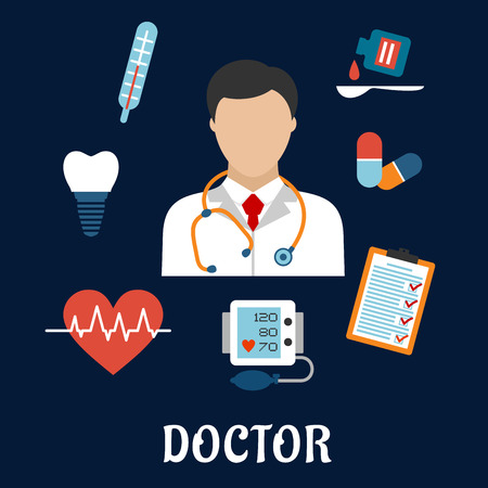 doctor icon: Flat medical icons with a doctor surrounded by a thermometer, tooth, pills, medication, chart, heartbeat and ECG on a blue background