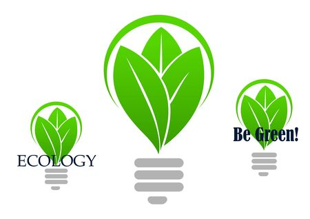 leaf logo: Save energy icon with with a stylized light bulb incorporating green leaves in three variants, one with no text, other with caption Illustration