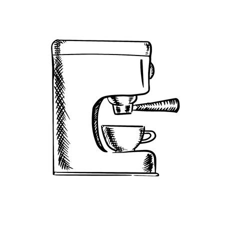 maquina de vapor: bosquejo blanco y negro de una máquina de café expreso con una sola taza debajo del filtro