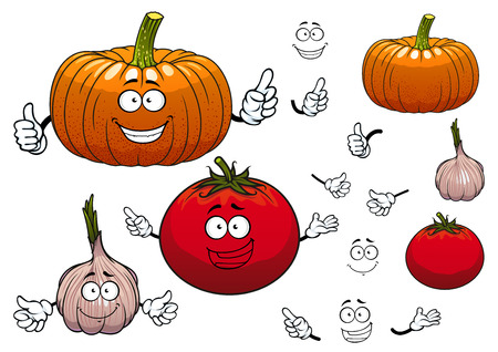 pumpkin tomato: Squash or pumpkin, tomato and garlic cartoon vegetables characters with hands and happy faces, isolated on white