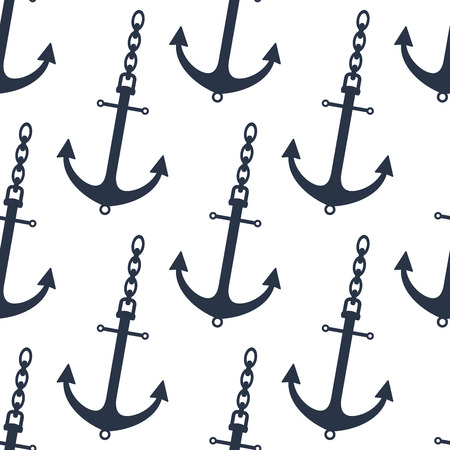 anchor: Seamless pattern of gray ship anchors with chan for marine and nautical design