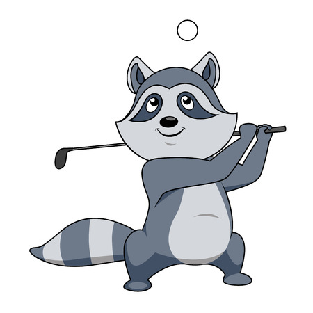 over the shoulder: Cartoon little grey raccoon playing golf swinging the club over its shoulder