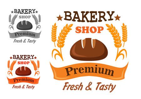 pain frais: Prime boulangerie dessin de l'insigne avec une miche de pain frais et des �pis m�rs or-dessus une banni�re avec le texte en trois variations de couleurs