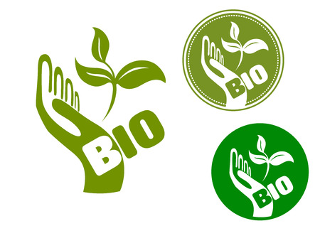 superimposed: Bio concept with icon of a green hand holding fresh leaves with the superimposed word Bio Illustration