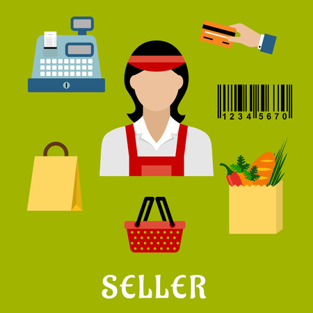 shop assistant: Seller profession concept with shopping icons including a bag, till or cash register, credit card payment, bar code and bag of groceries around a female shop assistant Illustration